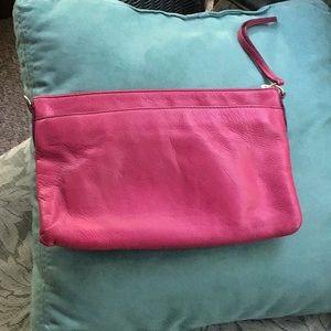 Super cute Fossil hot pink leather clutch